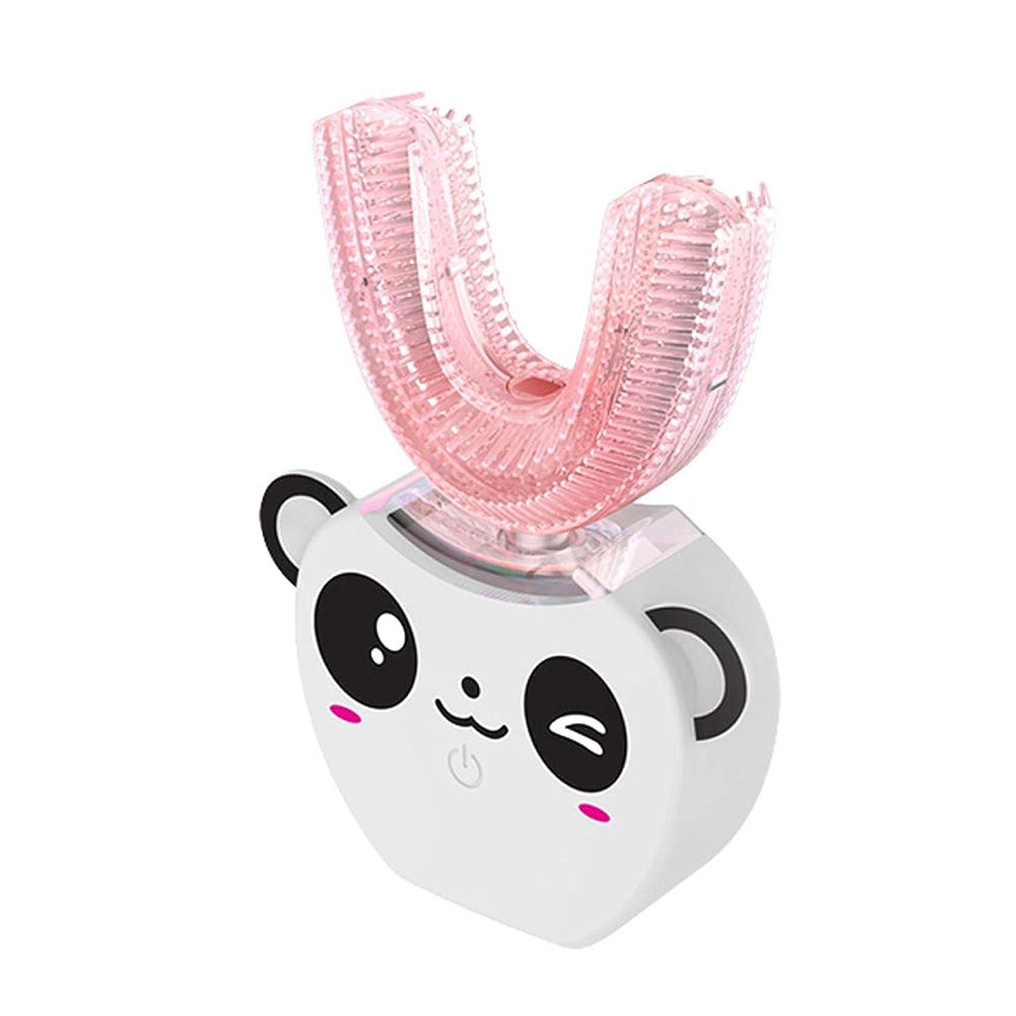 忘れられない貴重などこにでも子供のU字型超音波電動歯ブラシ子供自動歯磨き粉360°歯ホワイトニング8-16年