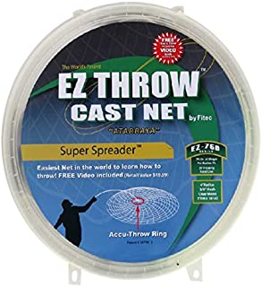 Fitec EZThrow 750 Super Spreader Cast Net Clear 6' Radius, 3/8