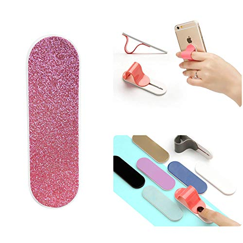 ZOQIZA Phone Grip Holder Portable Finger Grip Holder Strap Bracket Phone Loop Finger Kickstand for Universal Phone Charms (Glitter Taffy Pink)