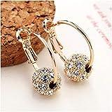 Boucles d'oreilles en or pour femmes, 7 perles colorées en strass, préservation de la couleur, galvanoplastie, transfert de mode, boucles d'oreilles créoles géométriques A