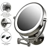 Ovente Wall Mount Makeup Beauty 9.5 Inch 1X Vanity Mirror LED Lights, 10X Magnification Double Sided 360 Rotation, Option of AA Batteries or USB Adapter Powered, Nickel Brushed MLW45BR1X10X