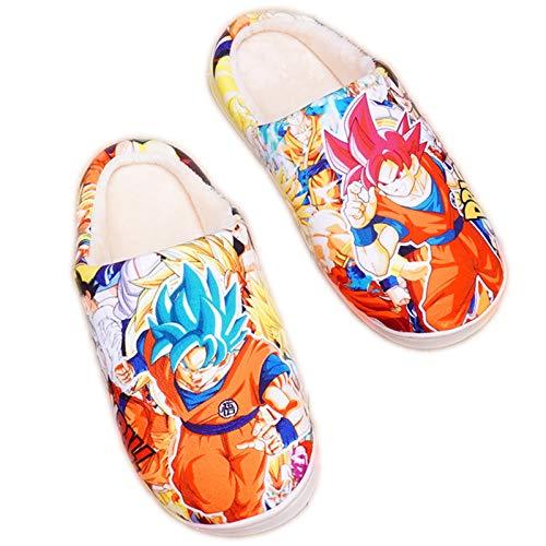 Hombre Invierno Cálido Zapatillas Casa de Espuma Viscoelástica Dragon Ball Kakarotto Super Saiyan Son Goku Mujer Zapatos Comodos Pantuflas Memory Foam Anime Japonés Slippers, Gr.39-46,39/41 EU