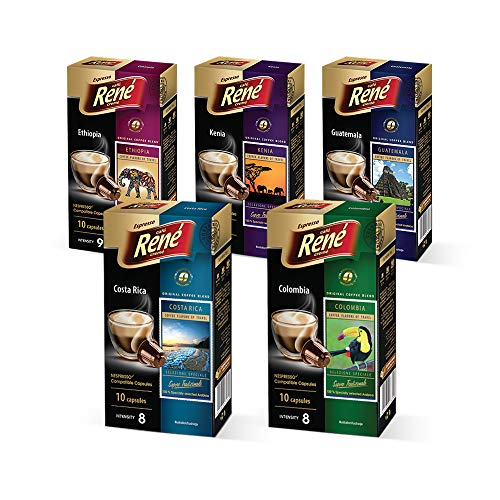 Cafe Rene - Rene Single Origin Pack - 10 x Nespresso Kompatible Kaffeepads (5 Stück)