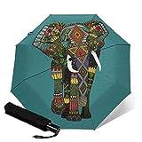 Paraguas compacto plegable de tres pliegues, diseño floral, diseño de elefante, color verde azulado
