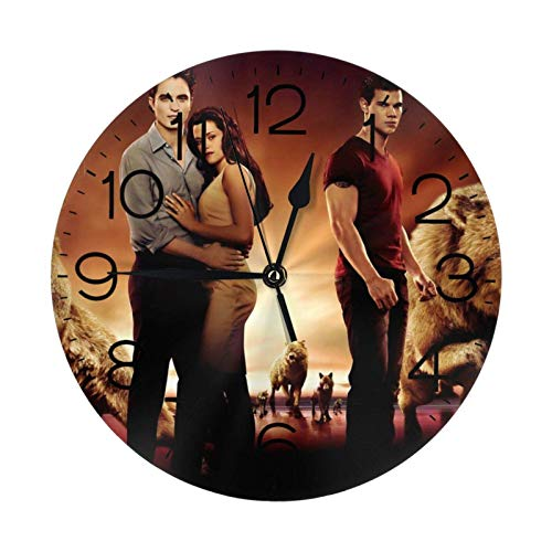 NOBRAND Relojes sin Marco Reloj sin tictac The Twilight Saga Reloj Número de Reloj de Pared Redondo