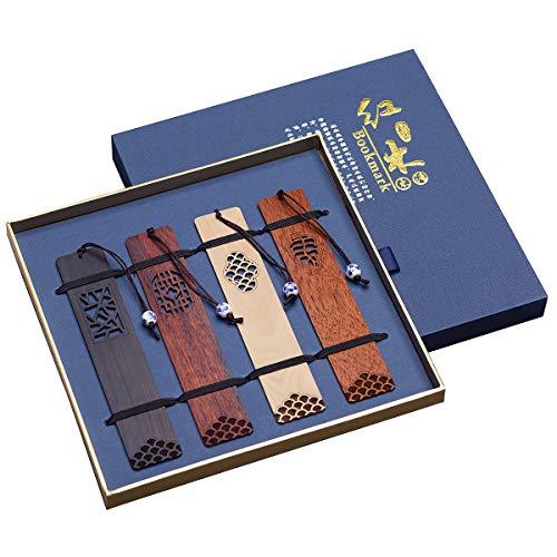 Handmade Carving Natural Wooden Bookmark Geschenkbox-Set, ein einzigartiges Geschenk für Lehrer, Schüler, Damen, Väter, attraktive Männer.