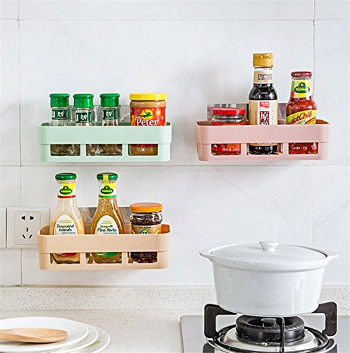 Katoot@ Kitchen Storage Rack Self-Adhesive Hanging Basket Box Organizer Toilet Bathroom Cooking Tools Holders Wall Mounted Stick Type (Green)