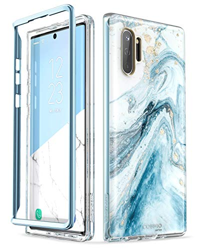 i-Blason Cosmo Series Case Designed for Galaxy Note 10 (2019 Release), Protective Bumper Marble Design Without Built-in Screen Protector (Blue)