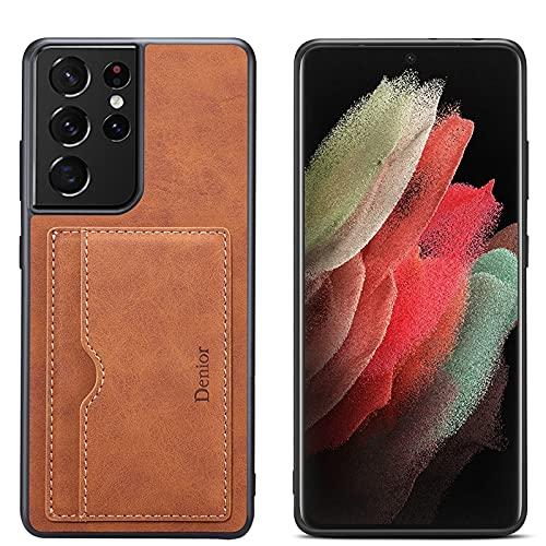 Funda Tipo Cartera para Samsung Galaxy S21/S21Plus/S21Ultra 5G : Tarjetero Slim Soporte Tipo Ranuras para Tarjetas de Crédito Cartera con Bolsillos Cuero a Prueba de Golpes,Brown,S21Plus