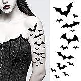 Bat halloween temporary tattoos paper transfer sticker black flying vampire vampiress bats women men adults kids body art makeup cosplay festivals parties (Bat Tattoos)