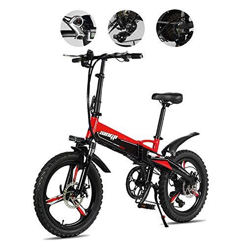 TTW Bicicleta eléctrica Plegable de 20 Pulgadas 30KM/H Adultos 7 velocidades Bicicletas...