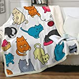 Sleepwish Cat Fleece Throw Blanket Girls Kids Cute Animals Pet Pattern Sherpa Blanket for Bed Couch Chair Super Soft Warm and Comfy Cat Lover Gifts,Colorful Kawaii Cat, Women Throw (50' X 60')