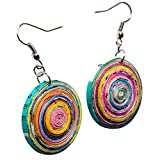 Earrings in Dome Shape Made of Magazine Paper...