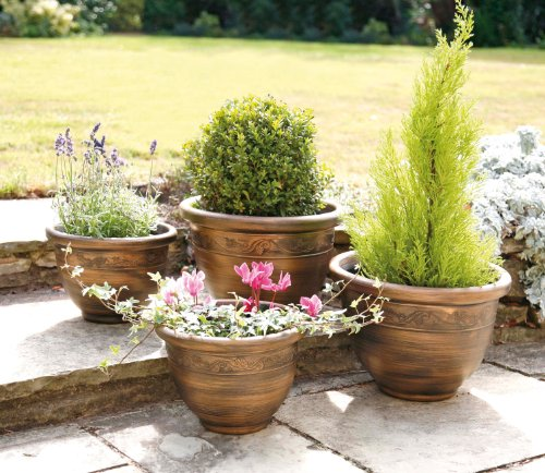 Finepoint Pack of 4 Garden Planters - Antique Bronze Effect