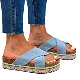 FAYHRH Antideslizantes de Casa Zapatillas De Ducha,Remolque de Mujer de Gran tamaño, Sandalias de Verano y Zapatillas en la Playa con Fondo de Plataforma Cruzada-Azul Claro_39