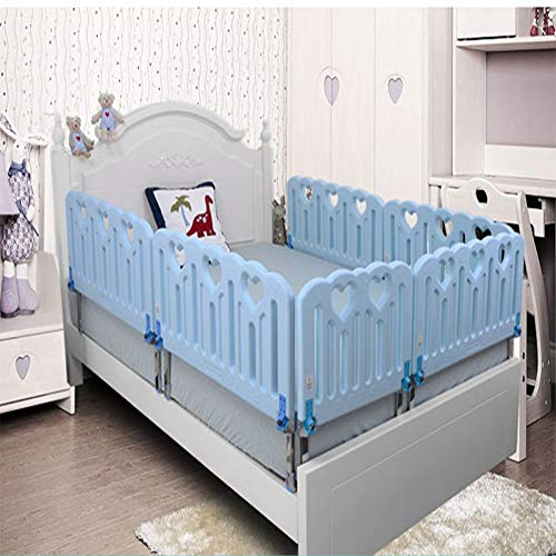 Children Bed Guard Rail,Portable Folding Safety Bed Rail for Toddlers Kids Baby (Color : Blue, Size : 35.4in)