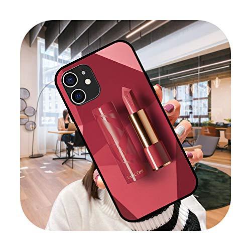 Funda del teléfono para el iPhone 12 Mini 11 Pro XS MAX XR X 8 7 6S 6 Plus negro cubierta cubierta moda impermeable elegante lápiz labial chica-G4-iPhone 11Pro