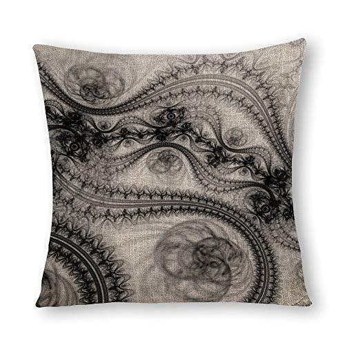 Perfecone Home Improvement - Funda de almohada (algodón, 55 x 55 cm), diseño floral, color negro