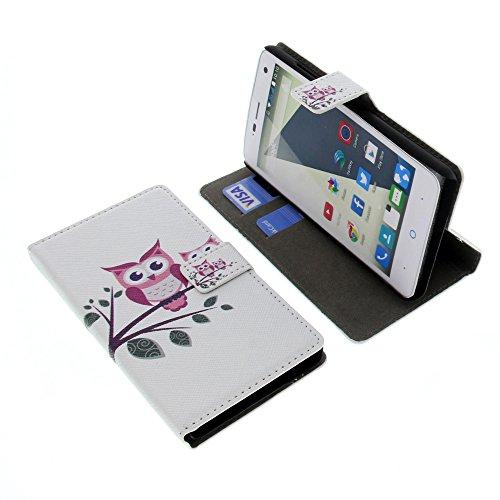 foto-kontor Tasche für ZTE Blade L3 Book Style Eulen weiß Schutz Hülle Buch