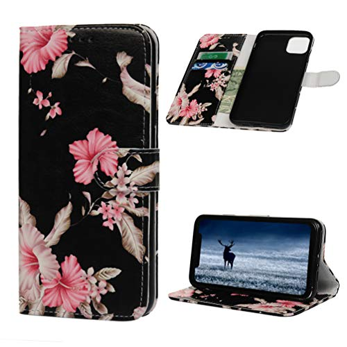 Tom's Village Colorful Printed Wallet Case for iPhone 11 Pro Max Premium PU Leather Magnetic Flip Cover Shockproof Flexible Soft TPU Ultra Slim Protective Bumper ID/Credit Card Slots Kickstand Flowers
