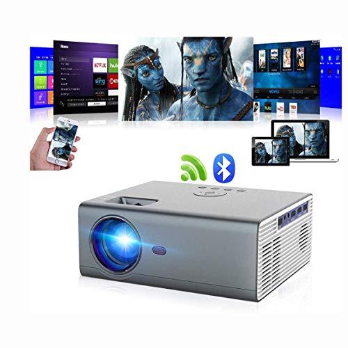 Proyector Bluetooth Proyector portátil Nativo inalámbrico LED 8000 Lumen 720P Smart WiFi HD LCD Proyector de Cine en casa Soporte 1080P Airplay Miracast con Zoom Bluetooth HDMI USB AV