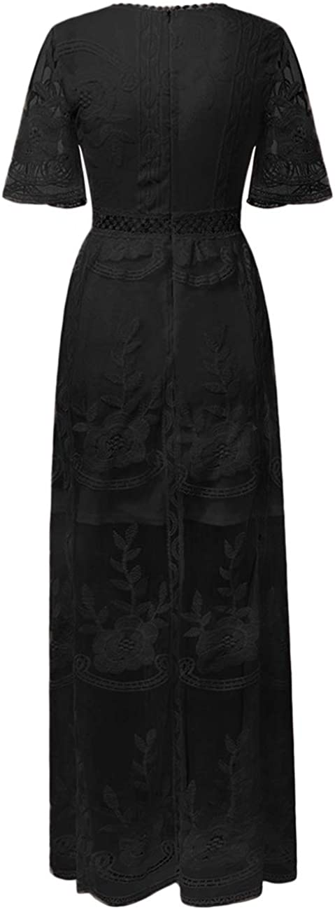 Ecosunny Womens Deep V Neck Short Sleeve Floral Lace Bridesmaid Maxi Dress Party Gown