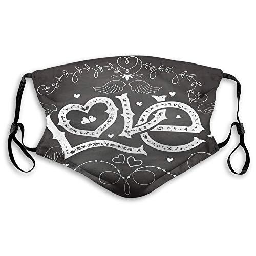 Cómoda cubierta de cara a prueba de viento, tipografía de amor floreciente con rama de curlicue y adornos de corazón. Decoraciones faciales impresas para todo el mundo para adultos