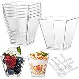 50 vasos de postre de plástico de 160 ml, juego de cuencos de postre, con 50 cucharas soperas, cuencos de postre, reutilizables, para mousse, pudin, hielo, para bufé, postre, picnic.