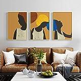MKWDBBNM Póster e impresión de Mujer Africana Abstracta Retrato étnico Minimalista Lienzo Pintura Collage Moderno decoración del hogar contemporánea | 50x75cmx3 sin Marco