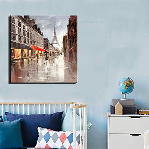 JNZART Turm Wandkunst Poster Und Drucke Impressionistischen Stil Absctract Moderne Landschaft Ölgemälde Druck Auf Leinwand Für Wohnkultur B 40x40cm