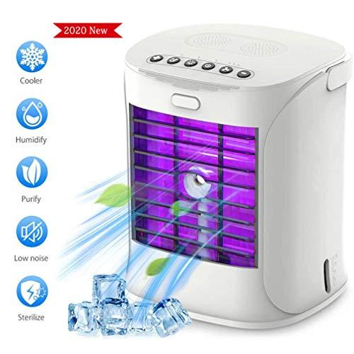ETFJK Ventilador Portátil de Aire Acondicionado, 4 en 1 Mini Ventilador de Escritorio Silencio Purificador de Aire Humidificador con Manija y Desinfección UV para El Dormitorio, Hogar, Coche, Oficina