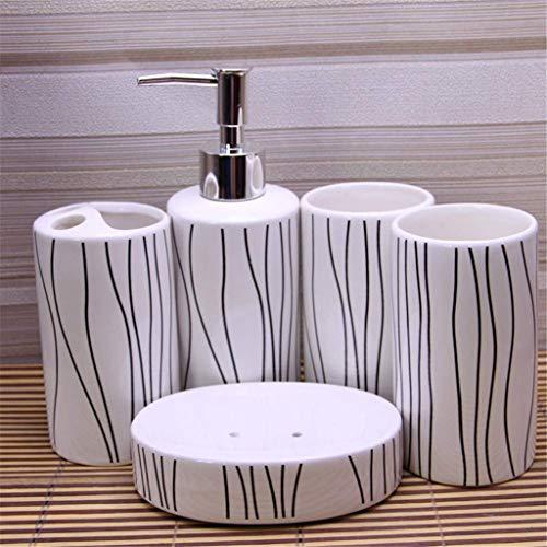 XZJJZ Keramik Badezimmer Fünf-Stück - Wäsche-Set Zubehör Zahnbürste Cup Seifenschale Lotion-Flasche