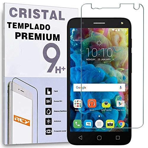 REY Protector de Pantalla para ALCATEL Pop 4, Cristal Vidrio Templado Premium