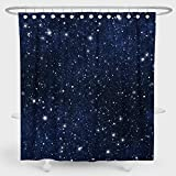 Riyidecor Night Sky Stars Duschvorhang dunkelblau Kosmic Starry Fantasy Galaxy Universe Stoff Wasserdicht Badezimmer Home Decor Set 182,9 x 182,9 cm 12 Kunststoffhaken