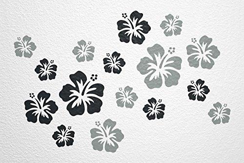 WANDfee® Wandtattoo 16 Hibiskus Blüten AC0610120 Größe Ø 7-15 cm, 2 x Ø 15 cm, 4 x Ø 11 cm, 10 x Ø 7 cm Farbe schwarz grau