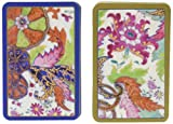 Caspari Double Deck of Bridge Playing Cards, Tobacco Leaf, Regular Type