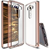 Ringke Fusion Compatible with LG V10 Case Crystal Clear PC Back TPU Bumper with Screen Protector Drop Protection, Shock Absorption Technology for LG V10 - Rose Gold