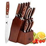 Kitchen Knife Set, Vestaware Professional 16-Piece Knives Set with Wooden Block High Carbon Stainless Steel Cutlery Knife Block Set with Sharpener Rod