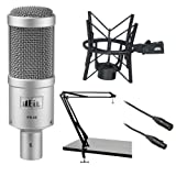 Heil Sound PR 40 Dynamic Cardioid Studio Microphone Bundle with PRSM Shock Mount (Black), Two-Section Broadcast Arm and Microphone Cable