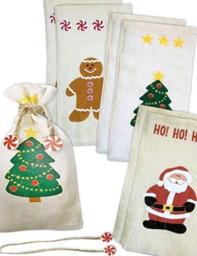 Hometools.Eu® Lot de 6 sacs en toile de jute pour sapin de Noël 19 x 10 cm motifs père Noël, sapin de Noël, bonhomme en pain d'épices, pour la saint-Nicolas, Noël, décoration de table