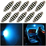 WLJH 10x Bleu Glacier 39mm (1.54') 2835 Chipset Canbus sans Erreur LED Festoon Ampoules pour Lumières de Voiture Intérieures Plaque d'immatriculation Dôme Carte Porte Courtesy Ampoule