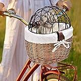 Panier de vélo en osier avec grille pour chien, panier de vélo en saule à fixer en toute sécurité sur le porte-bagages de vélo Panier de transport confortable pour chien chiot chat