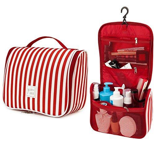 7Senses FLASH SALE! Hanging Toiletry Bag - Large Capacity Travel Bag for Women and Men - Toiletry Kit, Cosmetic Bag, Makeup Bag- Travel Accessories, Ruby Red
