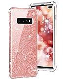 Funda Protectora telefónica Teléfono de la Caja para Galaxy S10 + TPU a Prueba de Golpes PC + TPU Funda Protectora Trasera (Color : Pink Glitter)