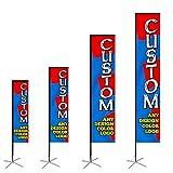 Anley Custom Rectangle Feather Flag 2.5 X 8 Ft Single Sided - Imprima su Propio Logotipo/diseño/Palabras - Banderas publicitarias publicitarias para Interiores y Exteriores (Solo para Banderas)