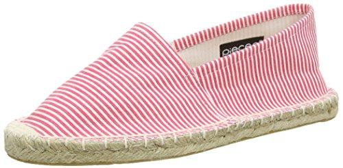 PIECES Damen HAISHA Espadrillos Stripe New Espadrilles, Mehrfarbig (Pink Carnation), 37