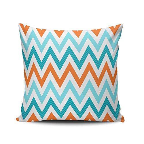 SUN DANCE Funda de almohada de 22 x 22 pulgadas, color naranja y azul aguamarina