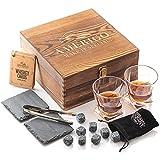 Whisky Steine Geschenkset mit Whisky Gläser - Vatertagsgeschenk Ideen - Geschenke für Männer - Whiskey Eiswürfel Wiederverwendbar - Papa Geschenke - Geburtstagsgeschenk für Männer - Whisky Zubehör