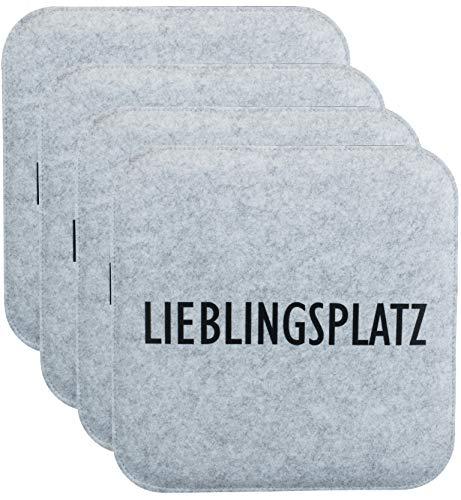 Brandsseller Wende-Sitzkissen Filz zweifarig Eckig Stuhlkissen Sitzpolster Auflagen - 35 x 35 x 1,0 cm (4er-Vorteilspack, Lieblingsplatz Anthrazit/Grau)