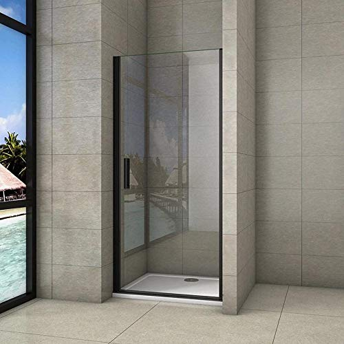 Mampara de ducha Frontal, Mampara abatible, una puerta giratoria, perfiles negros, vidrio de templado seguridad, antical,...
